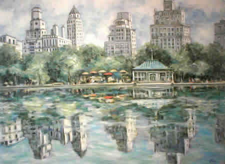 Boat Pond, Central Park - American Impressionist art by M. A. Miles