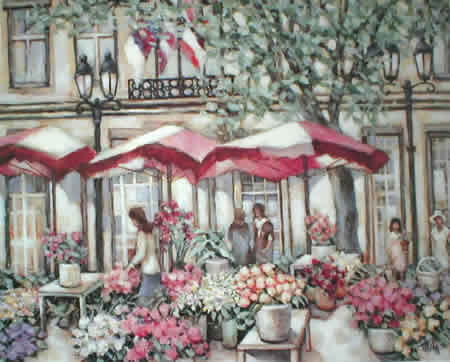 The Flower Market - American Impressionist art by M. A. Miles